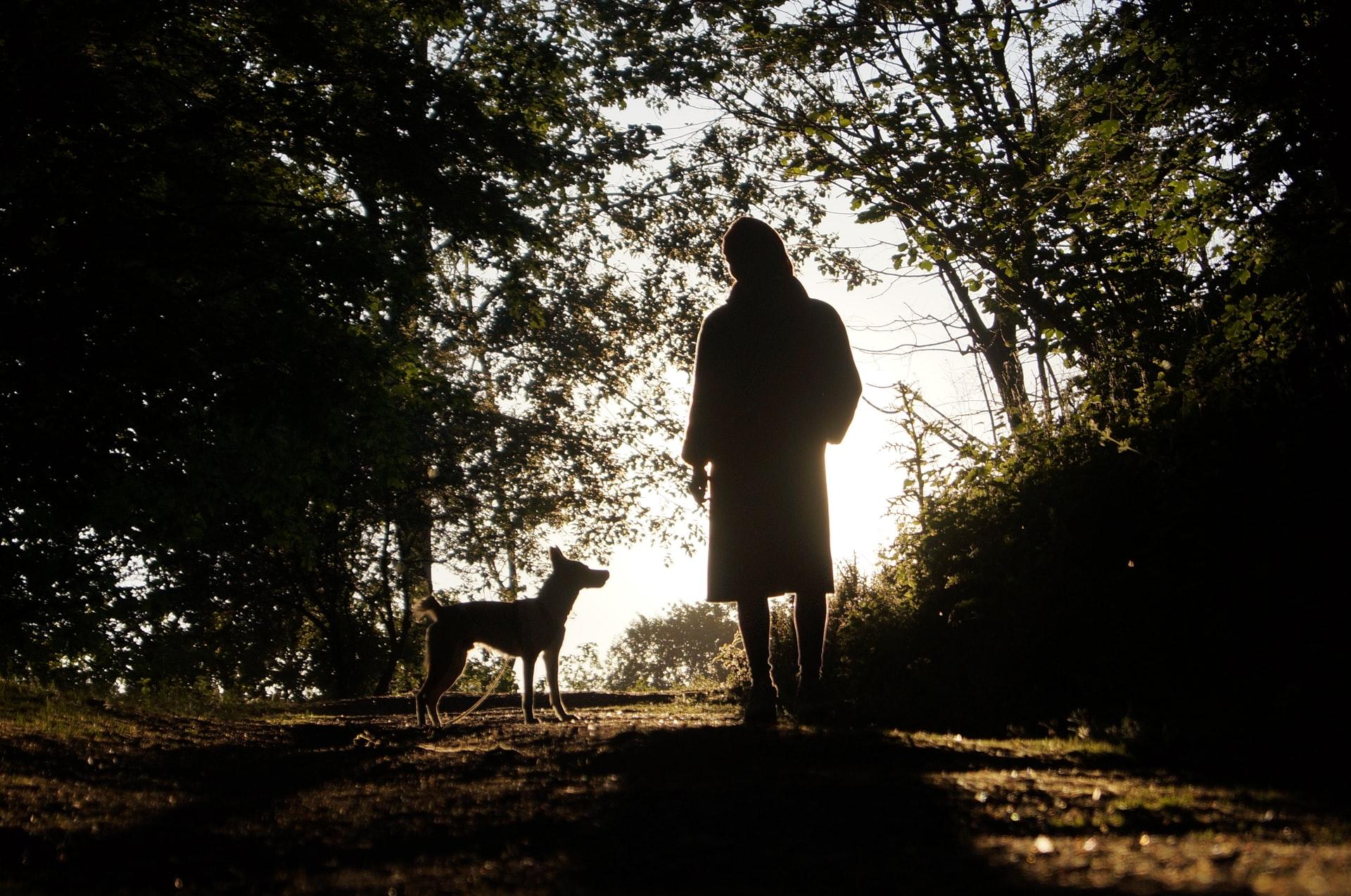 Frau mit Hund beim Spazierengehen